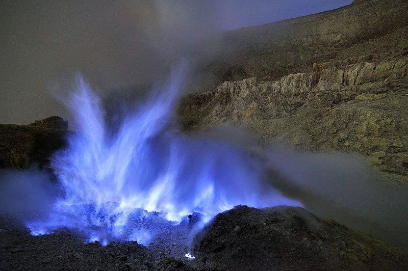 Blue flame of the Ijen Volcano, Java