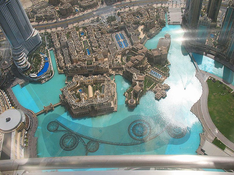 View of the fountain from the observation deck of the Burj Khalifa, Dubai
