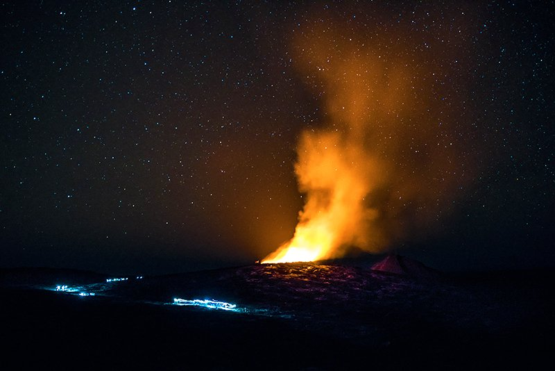 The glow over the Erta Ale crater, Addis Ababa