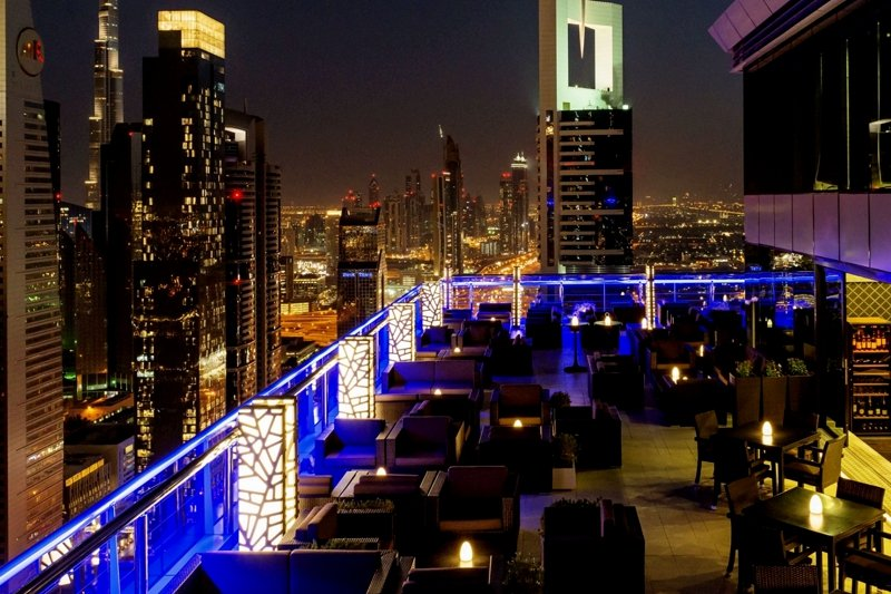 Level 43 Sky Lounge at night, Dubai