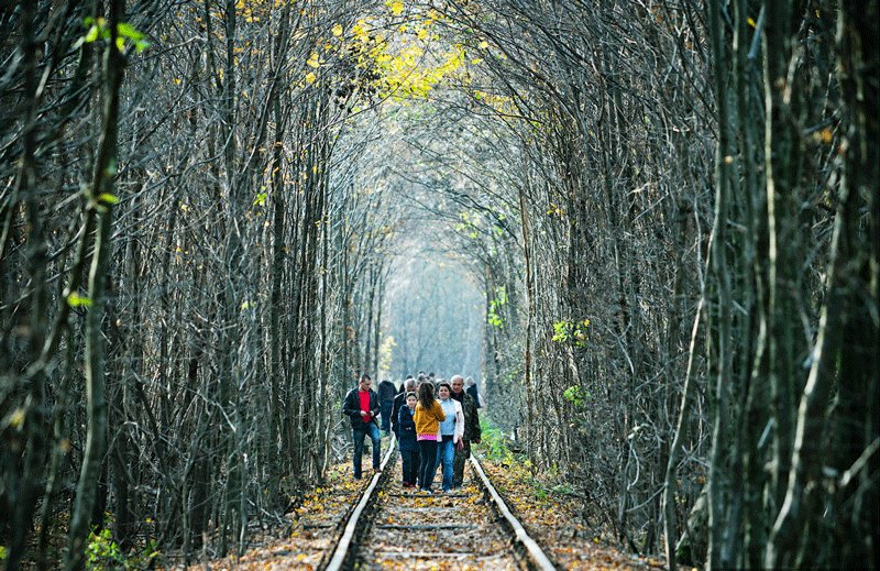 Klevan, The Tunnel of Love is a famous place even at autumn, Rovno