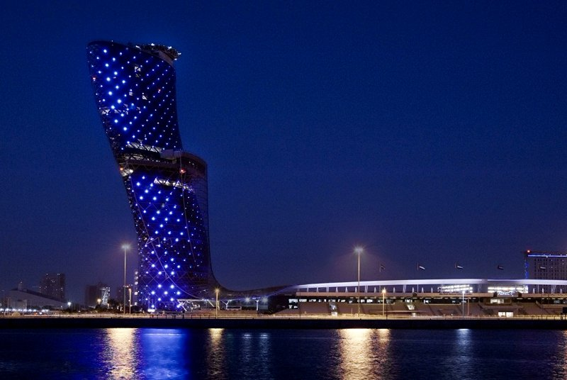 The Capital Gate at night, Abu Dhabi
