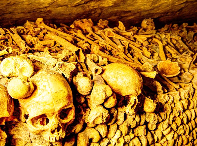 Skull in catacombs of paris, Paris
