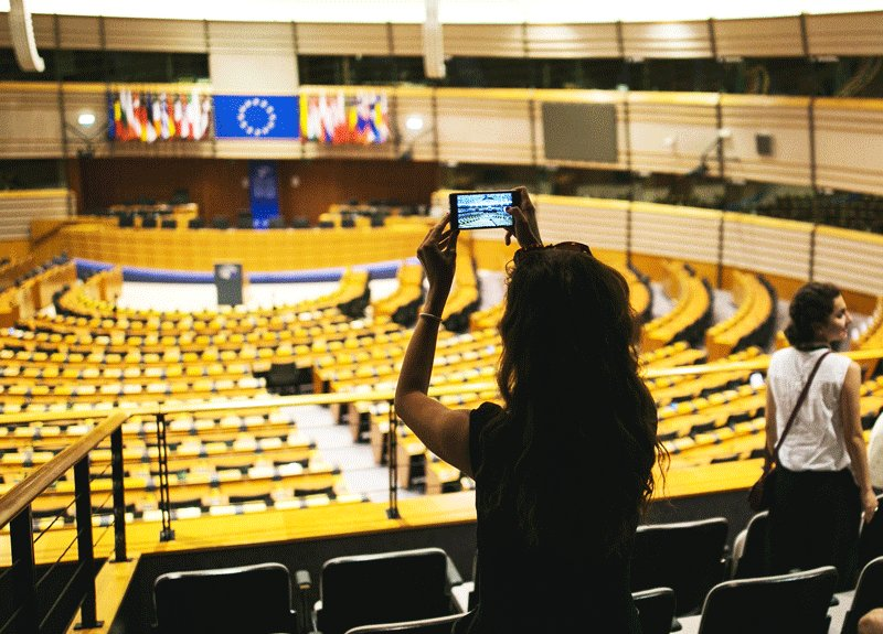 The European Parliament hemicycle, Brussels