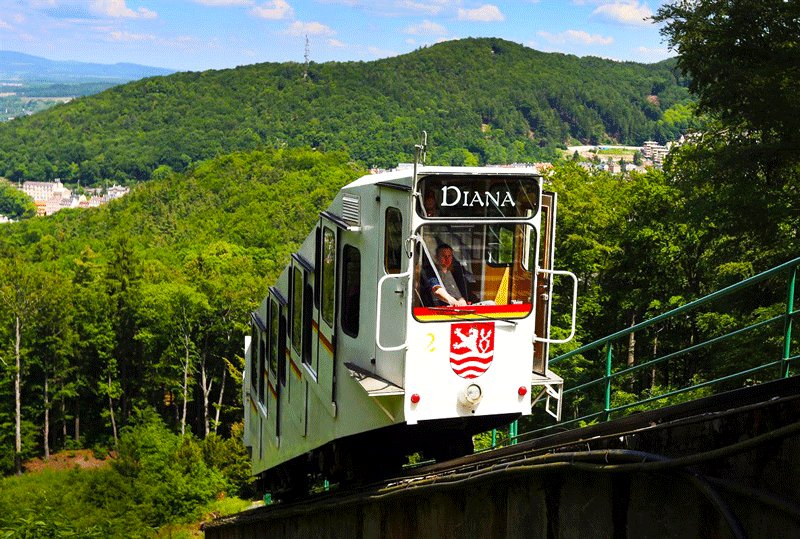 Funicular trip lasts 3 minutes, Karlovy Vary