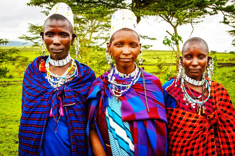 Maasai women wear bead jewelry, Arusha