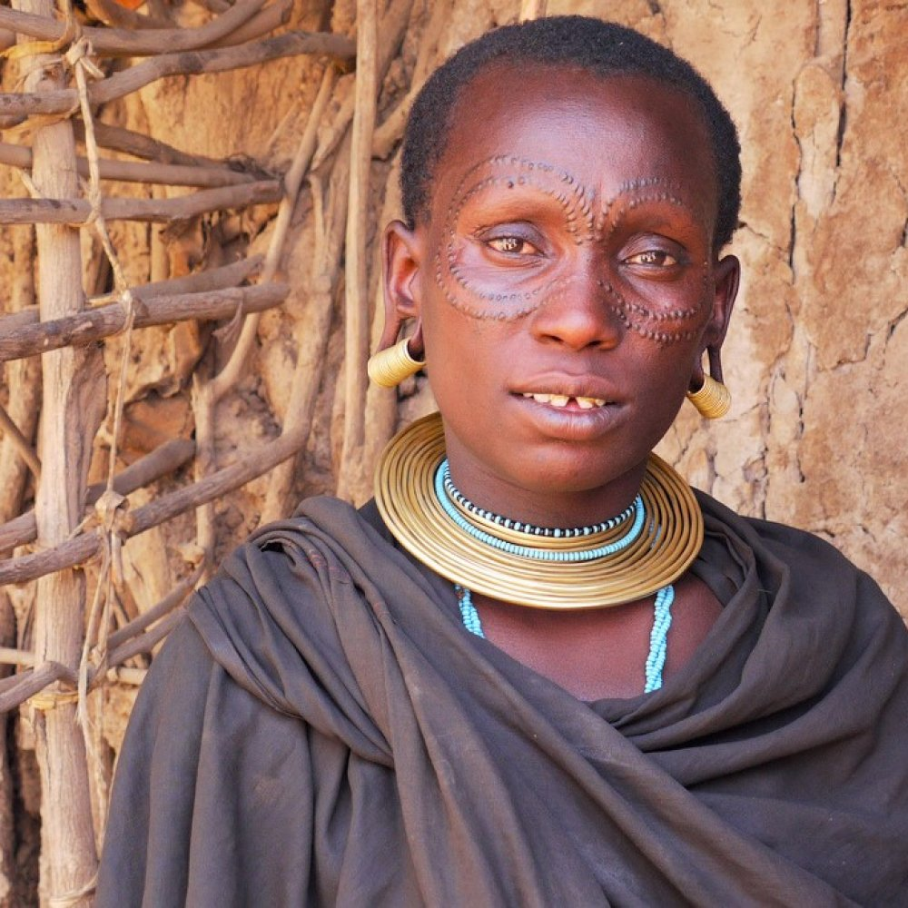 Datoga women decorate their faces with stigmas, Arusha
