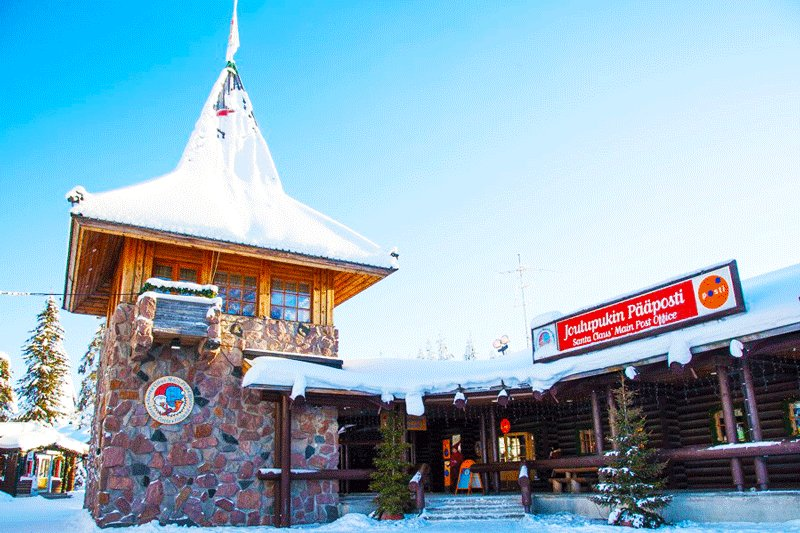 There is a post office in the village. You may send a postcard on behalf of Santa Claus, Rovaniemi