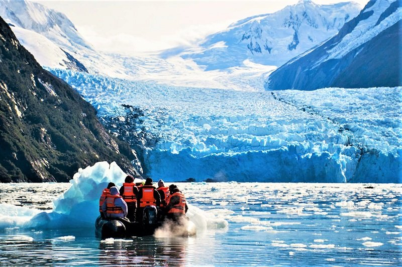 You can get to the glacier's shore by motor boat, Ushuaia