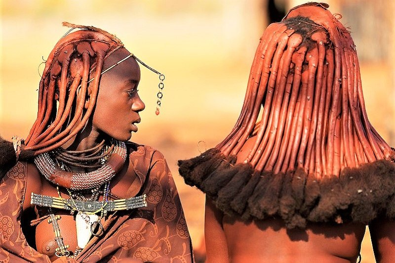 Women greased their hair with clay, Opuwo