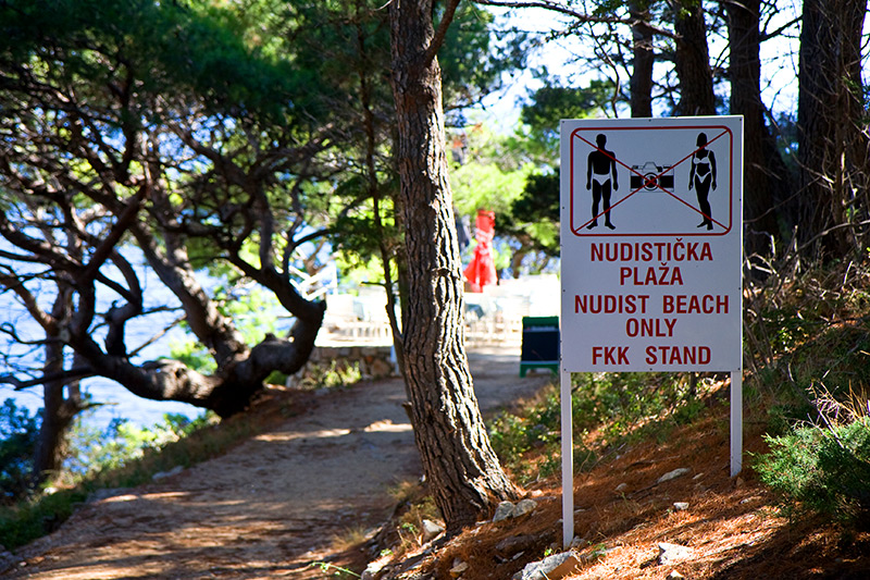 Entrance to the nude beach on Lokrum Island