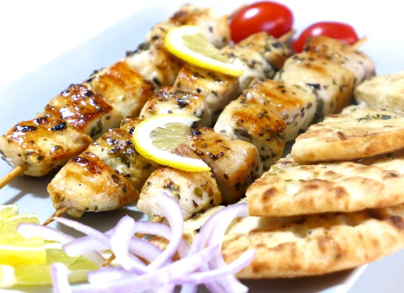 Souvlaki are often served like this