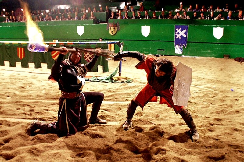 Knights fighting for the lady's heart.