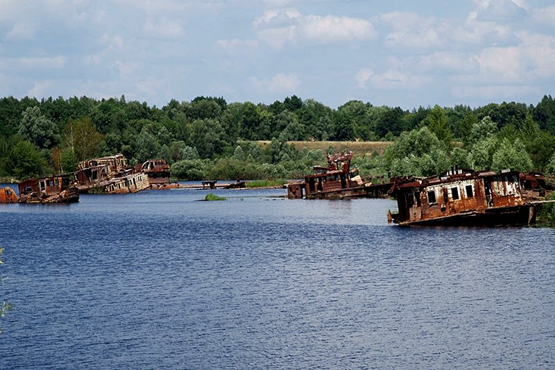 Cemetery of barges and ships in Pripyat