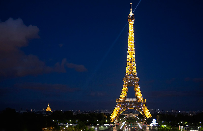 The lights of the Eiffel Tower