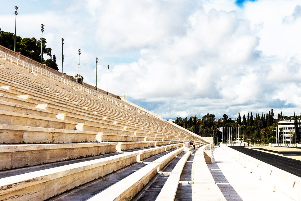 How to walk along the Panathenaic Stadium in Athens