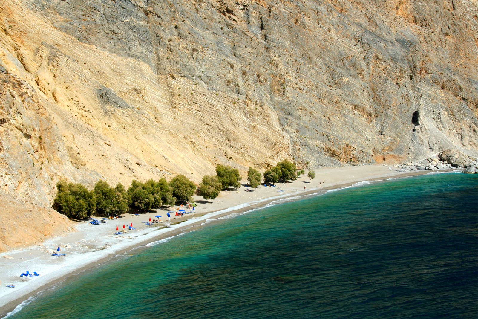 How to sunbathing on a secluded beach Glyka Nera on Crete