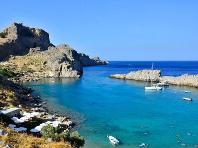 Relax on the beach in the St. Paul's Bay on Rhodes
