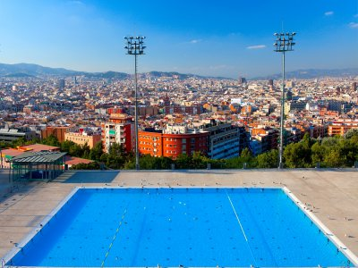 Take a swim in the pool with views of the city in Barcelona