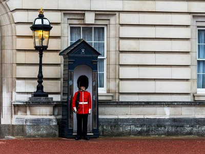 Make british guard laugh in London