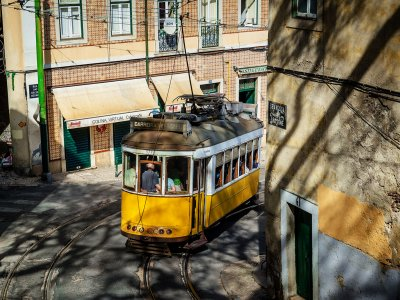 Ride the yellow train in Lisbon
