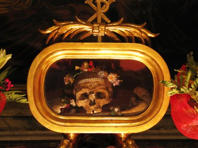 See the Saint Valentine's skull in Rome