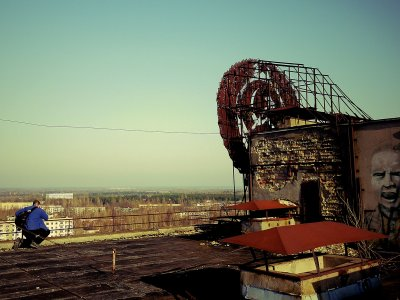 Climb up the the roof of 16-story building in Chernobyl