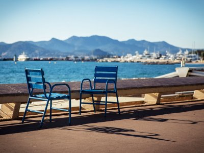 Have a rest in the blue chair on the Promenade de la Croisette in Cannes