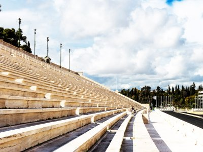 Walk along the Panathenaic Stadium in Athens