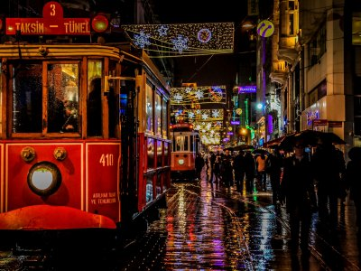 Ride on the old tram in Beyoglu district in Istanbul