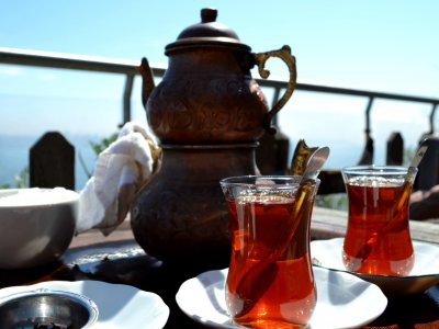 Drink tea from traditional bardac in Istanbul