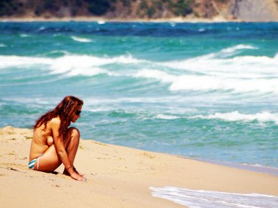 Take a sun tan topless on Irakli Beach in Nesebar