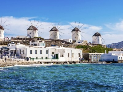 See the windmills on Mykonos