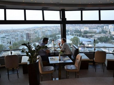 Dine in rotating restaurant on the television tower in Thessaloniki