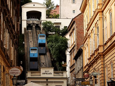 Climb to the Gornji Grad on the funicular in Zagreb