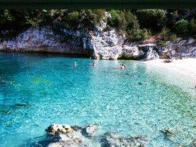 Swim naked on the beach on Kefalonia island in Kefalinia