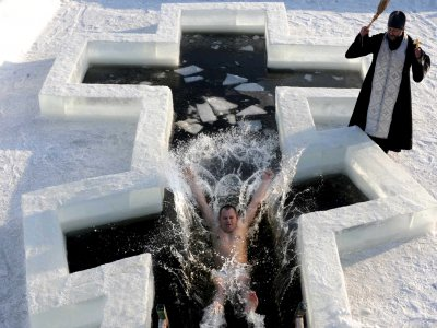 Dive in the ice-hole on Baptism in Kiev