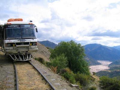 Take a ride on a rail bus in Sucre