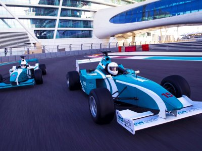 Drive a race car along the Formula 1 circuit in Abu Dhabi