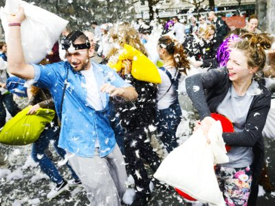 Attend pillow fight in Toronto