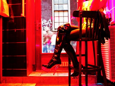Watch red light district window displays in Amsterdam