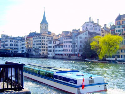 Ride in a water tram in Zurich