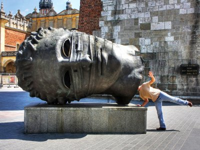 Take a picture with Eros' head in Krakow