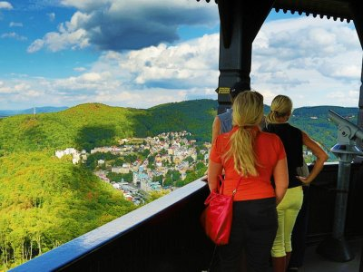 See city panorama from Diana tower in Karlovy Vary