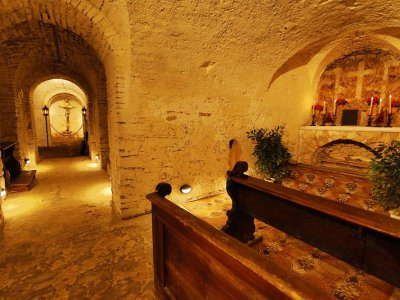 Descend into Mary Magdalene Church crypt in Karlovy Vary