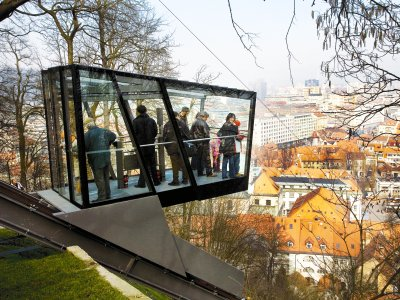Come up to the castle in a funicular in Ljubljana