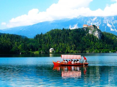 Take a boat cruise to the island in Ljubljana