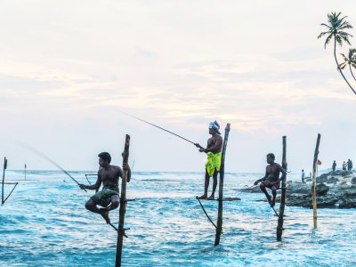 See Sri Lankan fishermen in Galle
