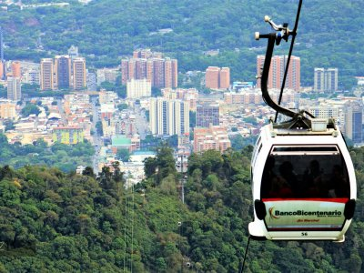 Take a ride over the cite in a cable way cabin in Caracas