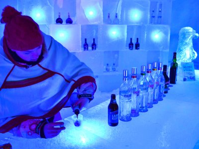 Drink a cocktail in an ice bar in Rovaniemi